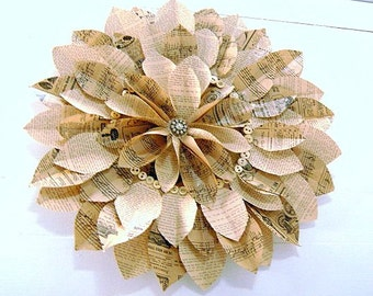 Wreath, Vintage Book, Rolled Page Wreath w/Vintage Jewelry/ButtonEmbellishment-Paper Sculpture - Paper Deco- Book Paper Art Collage