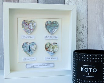 Personalised Map Hearts Story Picture, Anniversary Gift, Engagement gift