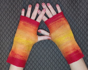 Felted Fingerless Gloves - Red, Orange and Yellow Felted Wool Gloves in Sunset Pattern
