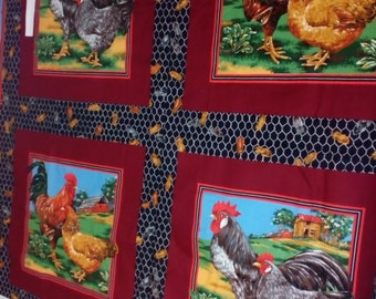 Vintage Panel #156 of checked and Roosters with FREE SHIPPING