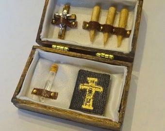 Dollhouse miniature vampire hunting kit, 1:12 scale Victorian oddity