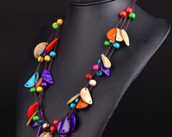 Handmade coconut shell necklace choker