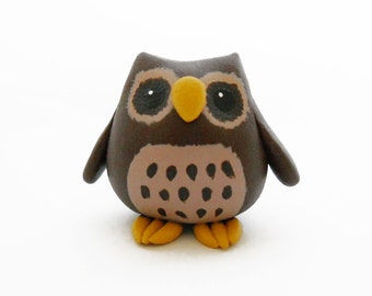 Brown round owl polymer clay miniature bird figurine