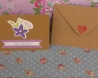 "purple flowers ""Best Wishes"" greetings card"