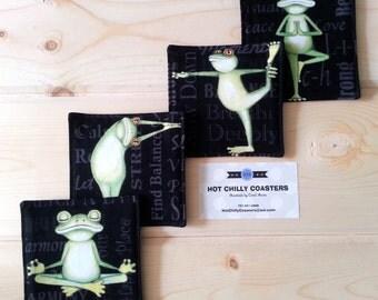 Relaxation Frog Vinyl-Backed Designer Cotton Coasters - Set of 4