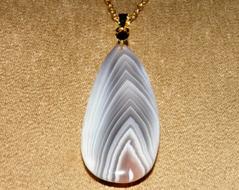 Banded Agate Necklace Natural Gemstone Necklace Big Teardrop Agate Pendant Gold Necklace Gemstone Jewelry Agate Jewelry Statement Necklace