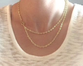 Gold leaf charm necklace, gold chain necklace, leaf necklace, leaf charm necklace