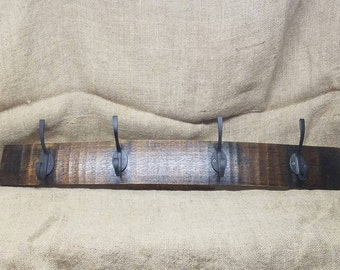 Large Bourbon Barrel Stave Coat Rack
