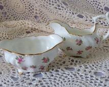 Vintage Hammersley China Creamer and Sugar Bowl for One, Small Creamer and Sugar Bowl, Pink Roses and Gold Creamer