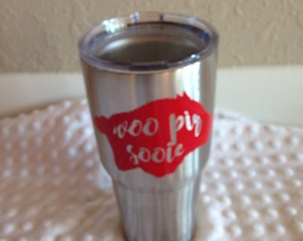 Arkansas Razorback Woo Pig Sooie Stainless Steel 30 oz Tumbler Cup