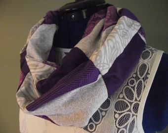 Purple and Cream Cotton Patchwork Infinity Scarf, Adult, Lightweight