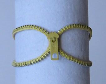 E-1631   Yellow upcycled zipper bracelet