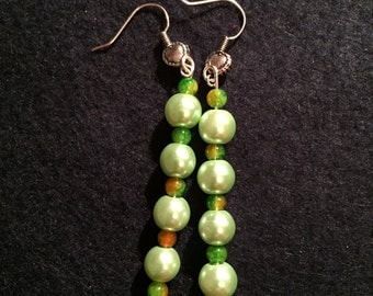 Sea foam green pearl dangle earrings