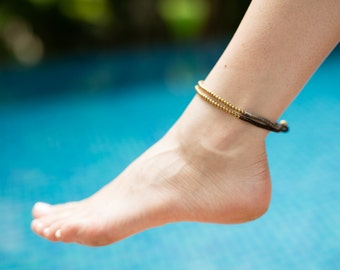 Woven Anklet, Brown Grey Anklet, Brass Beads Anklet, Gold anklet, Gypsy Anklet, A-4