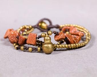Beaded bracelet- Sandstone rocks and gold bracelet- Brass strings Bracelet - B85