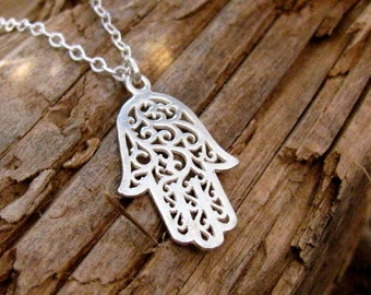 Hamsa necklace, silver necklace, hand of fatima, delicate necklace, sterling silver, charm necklace, gift for her, silver pendant