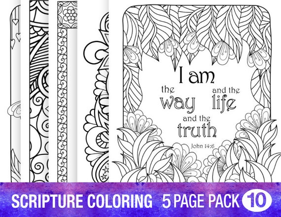 5 Bible Verse Coloring Pages Set Floral DIY Adult Prayer