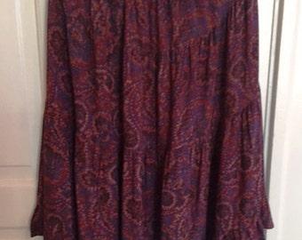 Beautiful Handmade Tiered Summer Skirt in Purple/Red Paisley Print