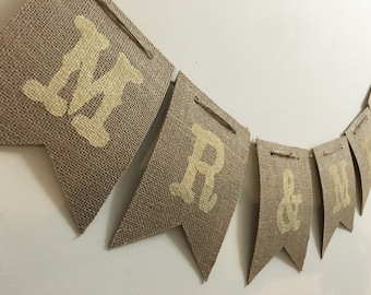 Mr. And Mrs. Burlap Banner / Wedding Banner / Mr. And Mrs. / Burlap Banner / Rustic Wedding Banner