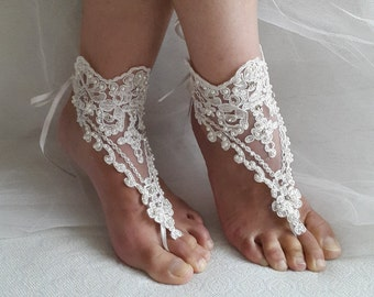 barefoot sandals,Beaded ivory lace shoes,bridal sandals, wedding sandals, free shipping!