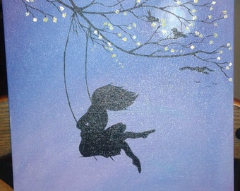 Girl on Swing Silhouette Painting