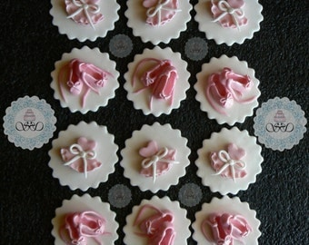12x edible fondant ballet shoes and tutu cupcake toppers