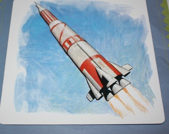 VintageDouble-Sided Large Flash Card - Rocket print - Retro Rocket - Retro Space Theme Print  -  1960's