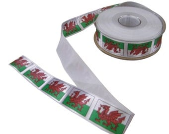 Welsh Flag Dragon Red Green White Printed Ribbon 25mm *4 Lengths*