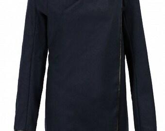 Assymetric, shoulder-button, wrap coat in Navy