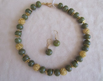 Large Olive Green Stone Necklace and Earrings