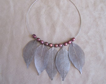 Antique Silver Real Leaf and Cultured Pearl Collar