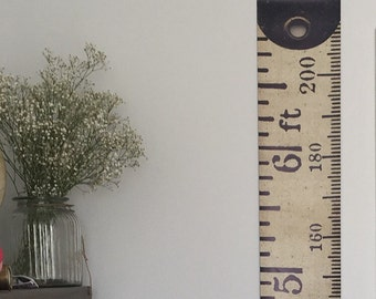 Vintage Inspired Tape Measure Hanging Height Chart, Ruler Growth Chart, Imperial & Metric Height Chart, Feet and Metres