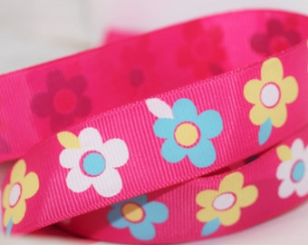 25 mm Pink Daisy Grosgain Ribbon 0.98 inches - Floral embroidered trim - Flower trim -Multicolor Ribbon