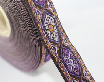 25 mm Purple Woven Jacquard ribbon (0.98 inches) - jacquard trim - Decorative Craft Ribbon - Sewing trim - woven trim - embroidered ribbon