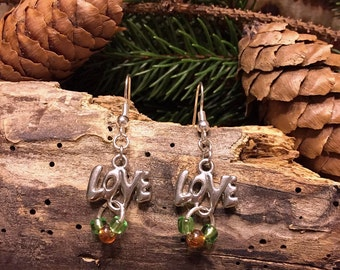SALE-Drop Earrings-Silver Colored-Beaded-Love Charm