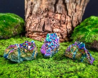 Trio of Rainbow Titanium Aura Quartz Crystal Clusters