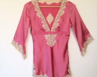 Rose silk lingerie/lace lingerie