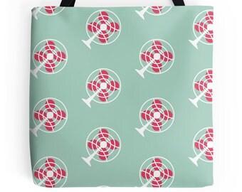Fan Tote Bag - Pink Purse - Blue Handbag - Retro Tote Bag - Cute Tote Bag - Vintage Tote Bag - Cute Handbag - Westinghouse Fan - Pink Tote