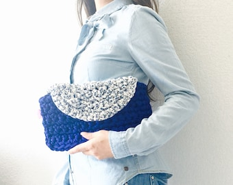 Clutch bag - sleeve crochet - two-tone