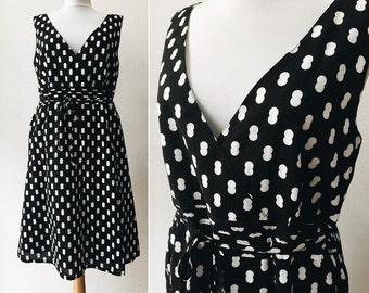 Vintage Cotton Dress,  Black White Dress, Woman Size M