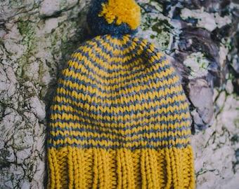Mustard & Grey Stripe Hat