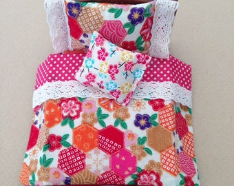 Bedding set handmade to fit Sylvanian Families Semi-Double (8cm wide) bed