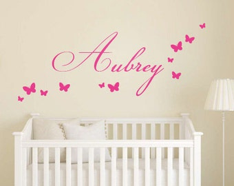 Girl Room Wall Decal – Personalized Name Decal Girls Name Decal Childrens Wall Decal