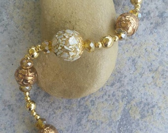 Sparkly gold beaded bracelet