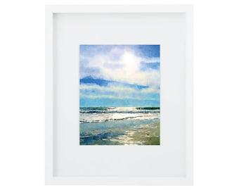 Beach Art, Beach Watercolor, Ocean Art Print, Blue Wall Art, Watercolor Painting, Beach Print, Beach Sunset Art, Ocean Print