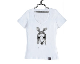 Women's T-Shirt Italian Greyhound in Hat, Sighthound W-W