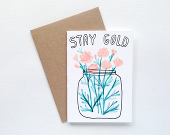 A7 Stay Gold Carnation Small Greeting Card