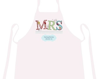 Personalisable White Mrs Wedding Day Apron Novelty Gifts for Special Days Occasions. Unique Bride Present with Date.