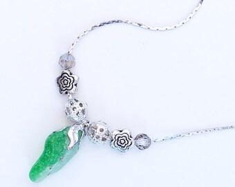 Fusion. Sea glass pendant.