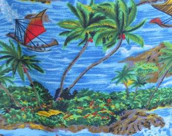 1970s Vintage Mens Hawaiian Aloha Shirt by Van Cort - Size L - Blue Green Groovy Tropical Shirt - Tiki Party Luau Vacation Cruise